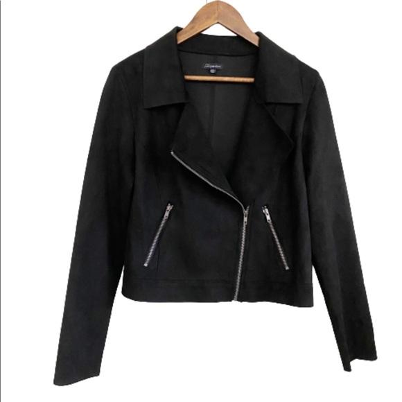 Shinestar Vegan Suede Black Zip Up Moto Jacket